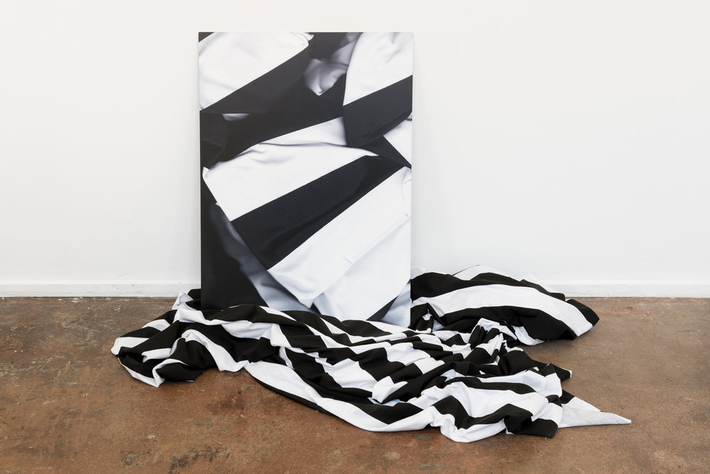 Lilium Burrow,  WB , dye-sublimation print on aluminium, polyester, dimensions variable  Installation view at Bus Projects, Melbourne 2018  hoto: Christo Crocker