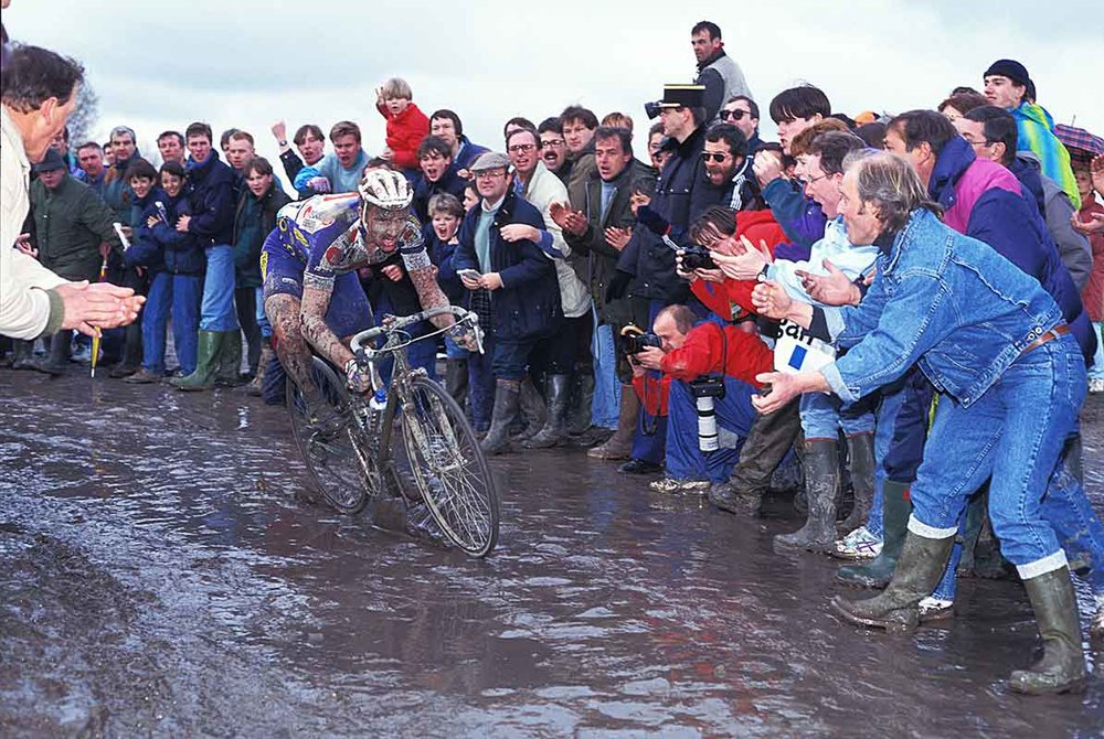 Johan Museeuw showing more resilience in the mud than some.