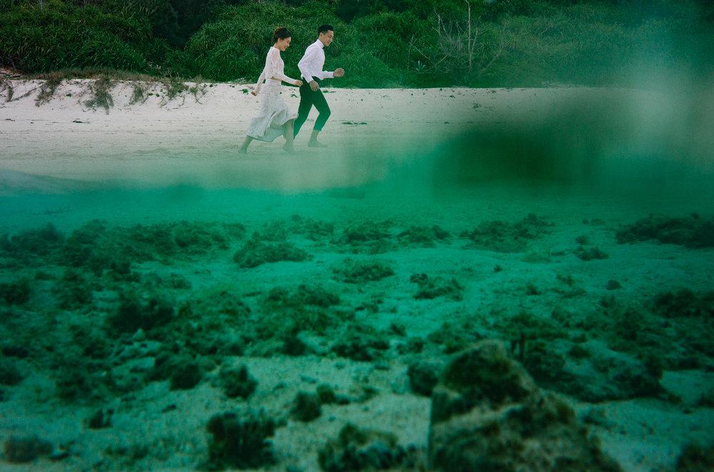 瀬底ビーチの特徴は、透明度の高い水。離島に行かずとも、このような写真が撮れます。