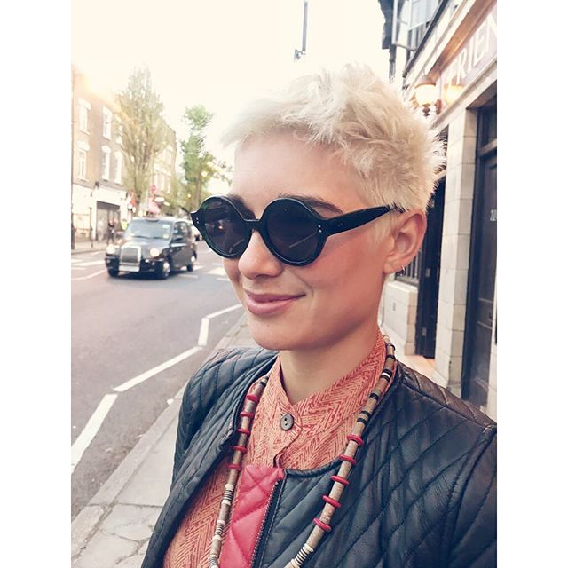 The beautiful Fabiola in her #SohoBespoke #sunglasses. You can just make out the green mottling of the acetate.  #madetomeasurespectacles #bespokeeyewear #handmade #madeinengland