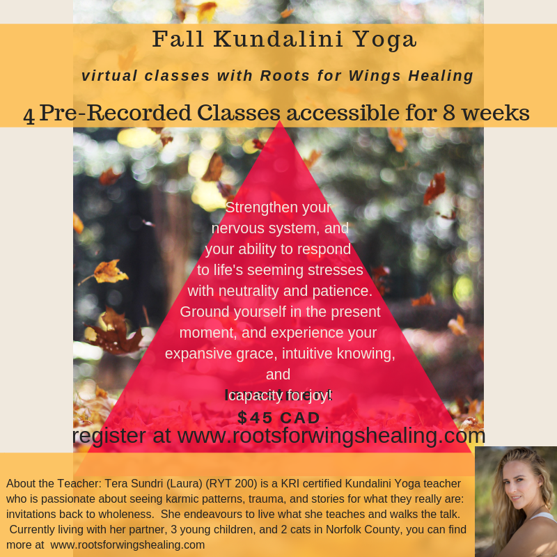 Fall Virtual Yoga - Four classes pre-recorded for you to practice at your own pace!  While practicing in community has more benefits than can be named, sometimes accessibility is a factor.  Gather your friends, or practice in some solo silence.  Either way, these four classes will help you to ground and release as we enter in Autumn.Four classes, available for a minimum of 8 weeks, all emailed to you as they become available beginning Sunday October 16th.Investment: $45 CAD