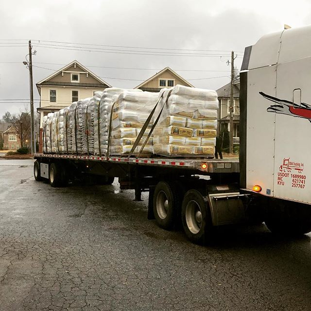 "We don't let this cold ""non-snow"" day get us down, we are getting ready for spring! A tractor trailer of #foxfarm soils arrived today!"