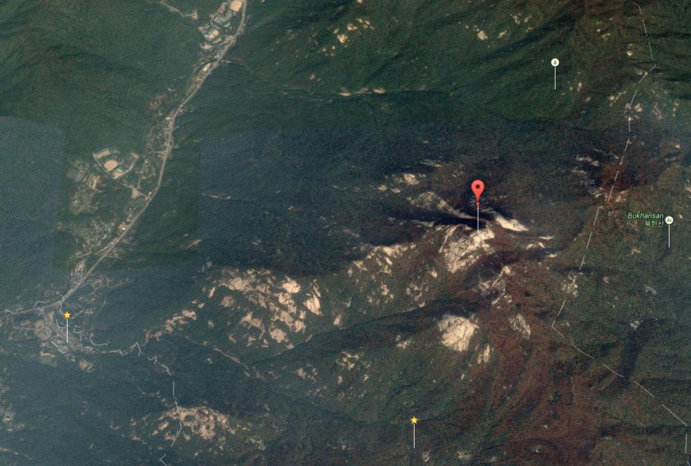 "(Baegundae Peak (Coordinates:37°39'31.4""N 126°58'42.0""E) Click through for google maps."
