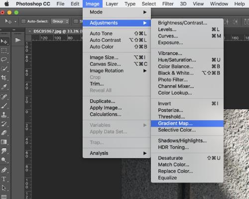 Image > Adjustments > Gradient Map