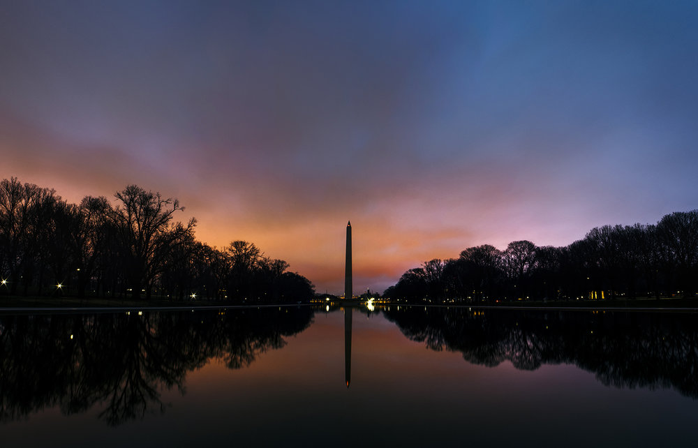 Washington Monument From the Lincoln Memorial at sunset.