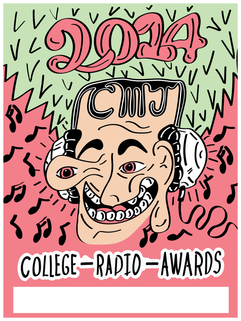 While in my second year of work at CMJ  ,   I was asked to design a   screen-printed   College Radio Awards poster. Of course I was very excited about the project and decided to push the envelope a bit. I know that the students look forward to these   awards   and I wanted to make something that really stuck out and was bright and colorful. I decided to go with this psychedelic melting   Picasso-like   face with massive green hair. I was limited to four colors for the   print. Working   with that limitation  ,   I   chose     pink   as the background for the poster to keep it eye-catching and   bold  . After adding in the music notes  ,   I noticed it created   a look similar to   a watermelon. I was happy with the result and even more happy that this poster was approved. As   with   any print I produce  ,   I numbered and signed the set of 52 prints.