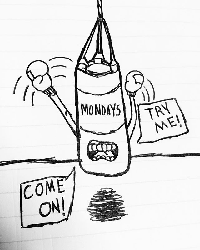 We all know how it feels #mondays #punchingbag #tough #rough #workweek #work #day #meetings #illustration #sketch #sketchbook #drawing #comic