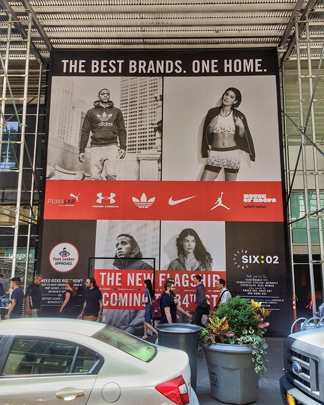 34th Street barricade is up!! Footlockers new flagship is going to be amazing! #footlocker #barricade #design #marketing #visual marketing #comingsoon #flagship #huge