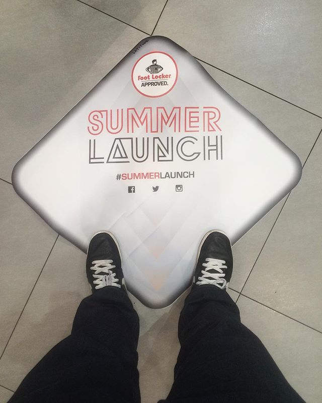 Testing out samples for our summer launch campaign that just launched haha #summerlaunch #footlocker #sample #print #floorvinyl #design #visualmarketing