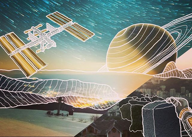 Finishing up my first commission #sneekpeek #canvas #largeart #largeformat #outline #color #space #mountains #saturn #iss #light #stars #sky #orbit #eclipse #drawing #handdrawn