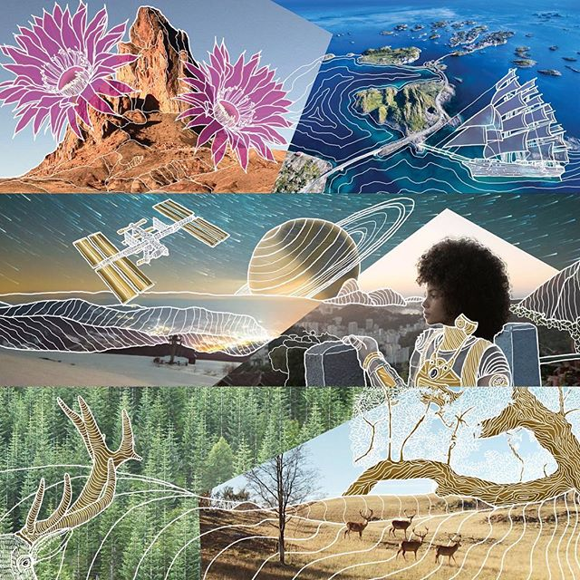 3 out of 4 commissioned artworks!!! So stoked!! #mixedmedia #canvas #largeprint #largecanvas #digital #outline #illustration #photo #photography #photoillustration #commission #art #original #style #artwork #officeart #largescale #space #color #balance #buck #nature #iss #astronaut #ship #sea #flowers #desert #forest #life