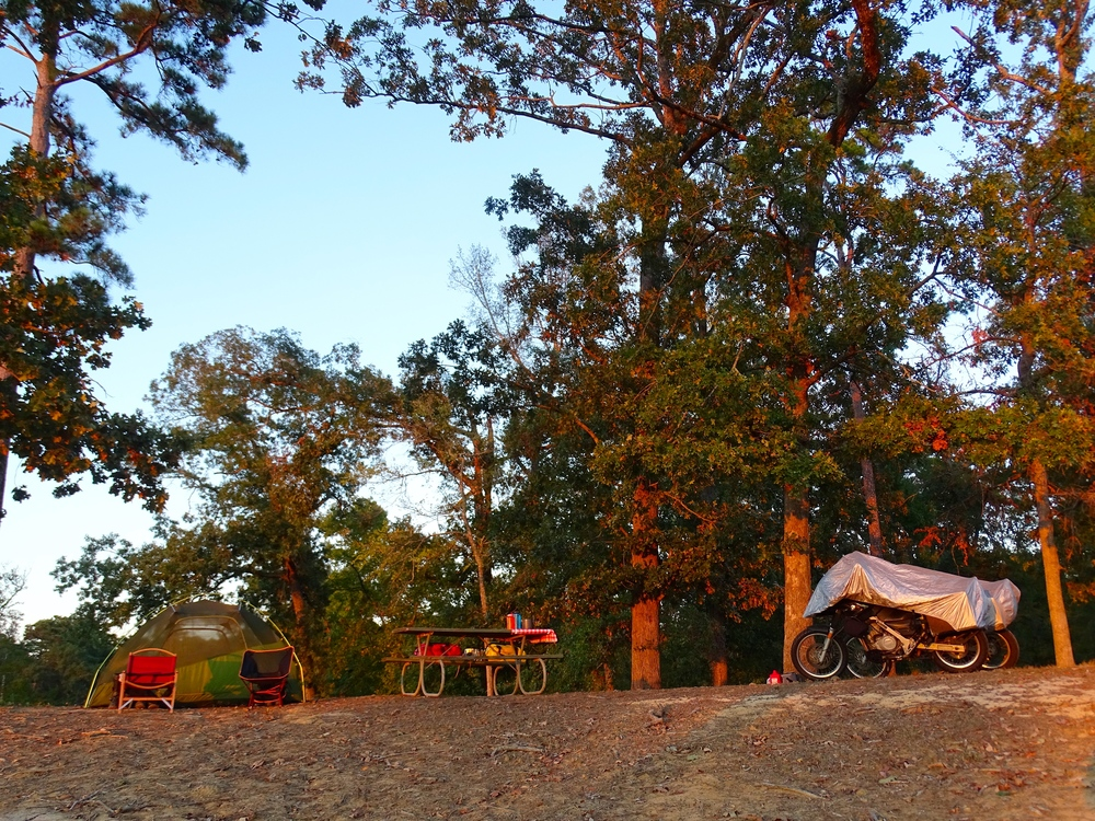 Sun is setting, camp is all set-up for the day.