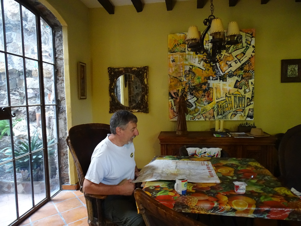 Map reading in the main casa.