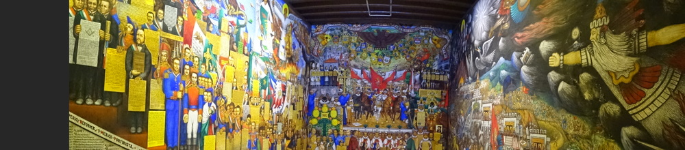 Paintings depict history of the town.