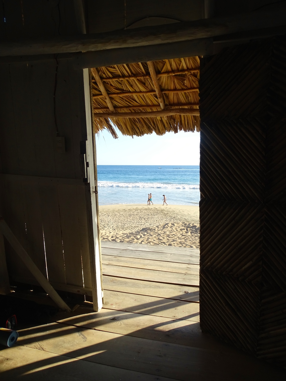 View out from inside the cabana.