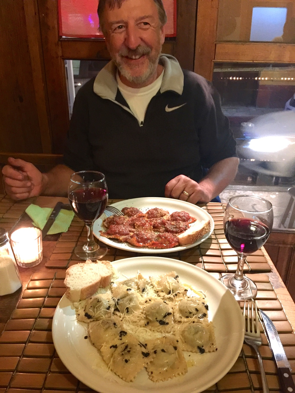 Final supper of fresh ravioli at an Italian restaurant. Divine!
