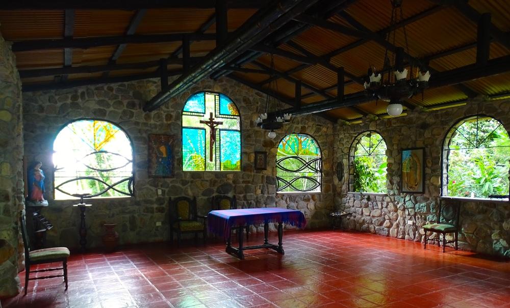 Inside the church.