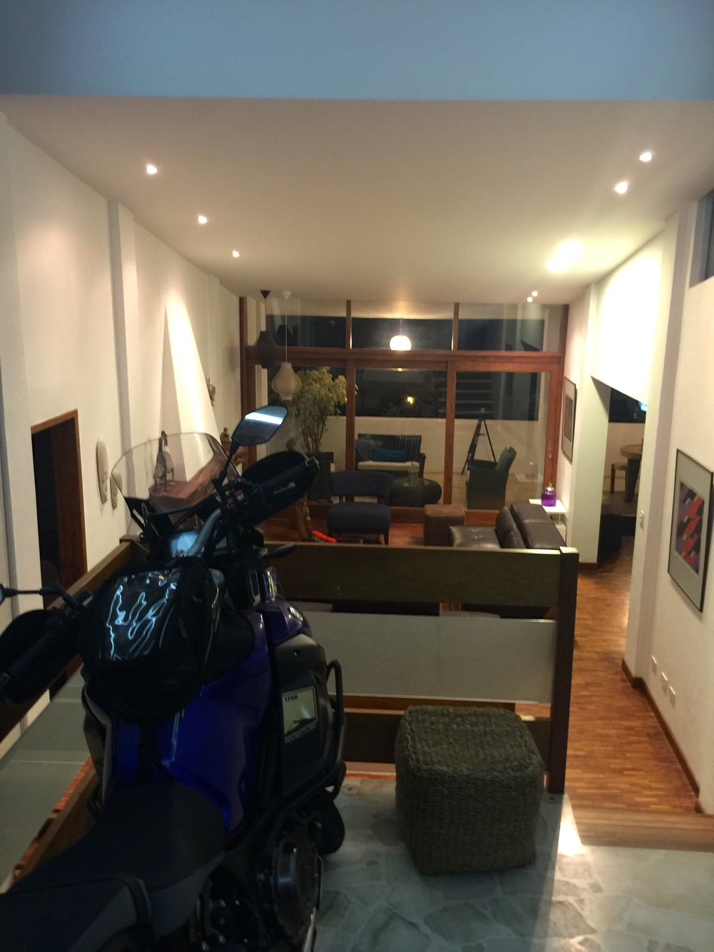 Felipe  made room in his garage for our bikes by moving his bike into the house. Very cool.