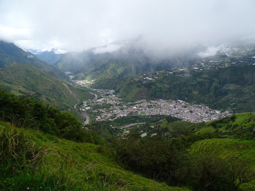 A view of Baños from high on the mountain to the north of town