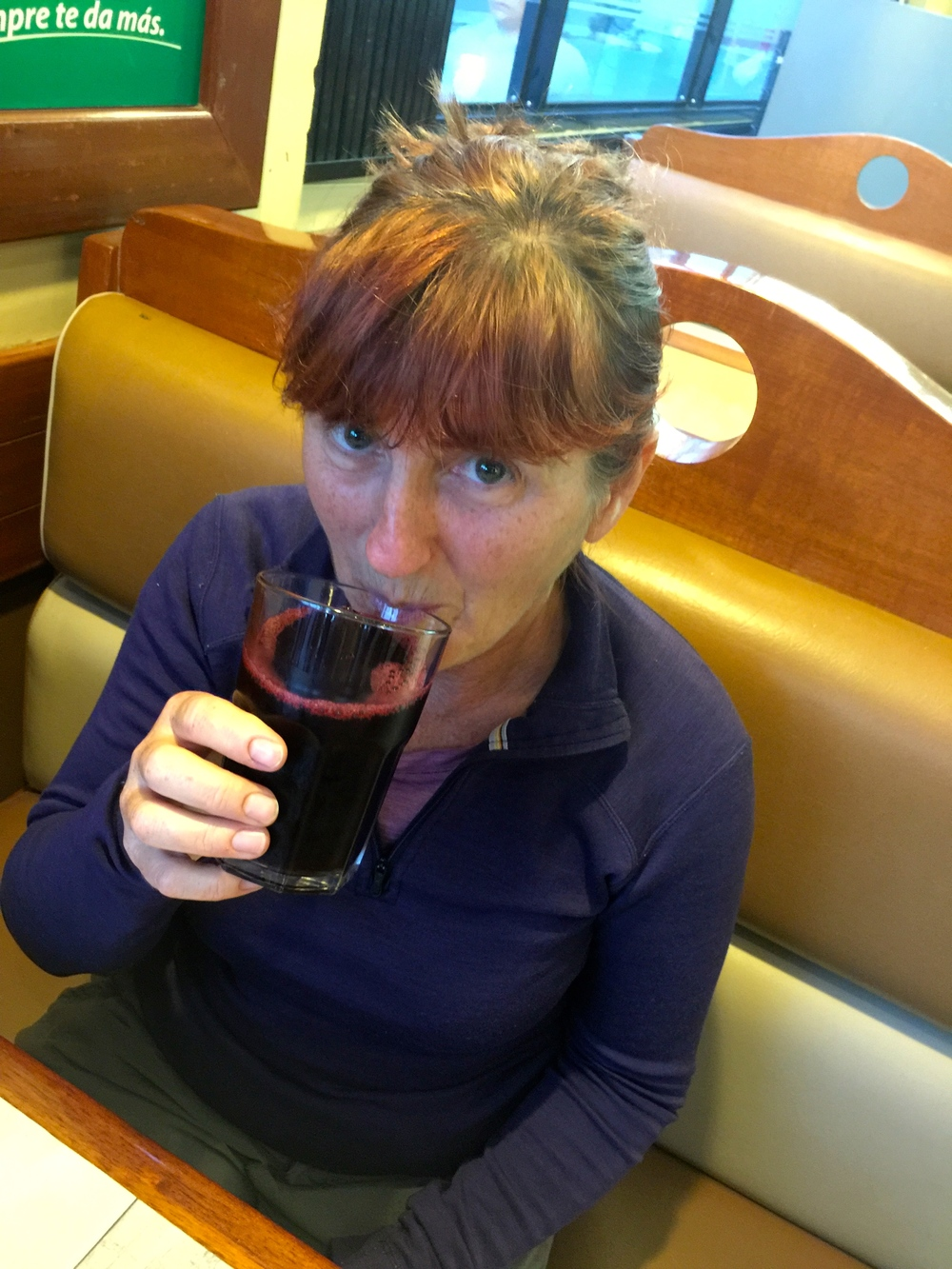 Chicha Morada - an excellent purple drink in Peru, made from purple corn, believe it or not.  Delicious, and very popular.
