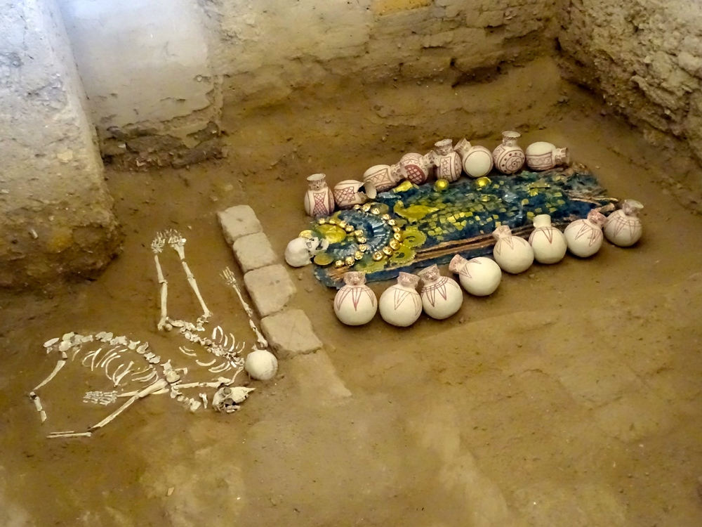 They have placed replicas of objects back into several of the pits to show just what was found and how they were arranged.