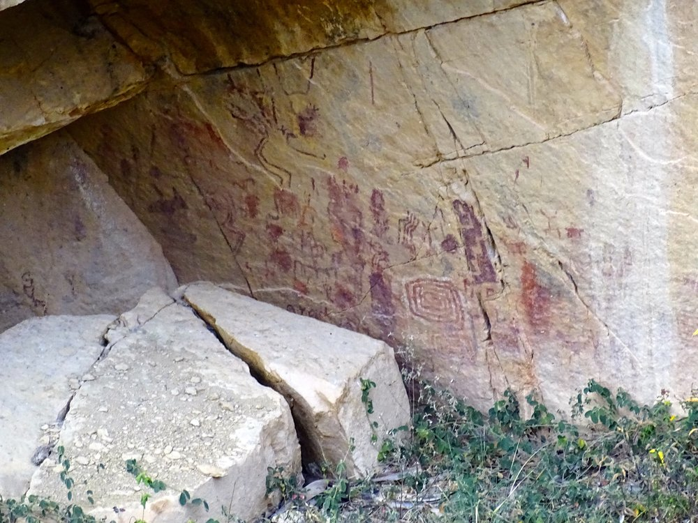 More petroglyphs at a site far across the canyon, inaccessible now.