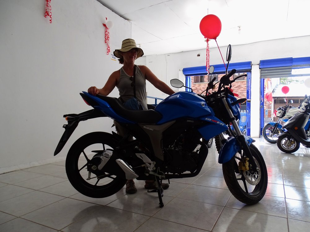 Jalene eyed a new Gixxer at the local Suzuki shop.  These little bikes are SO beautifully made.