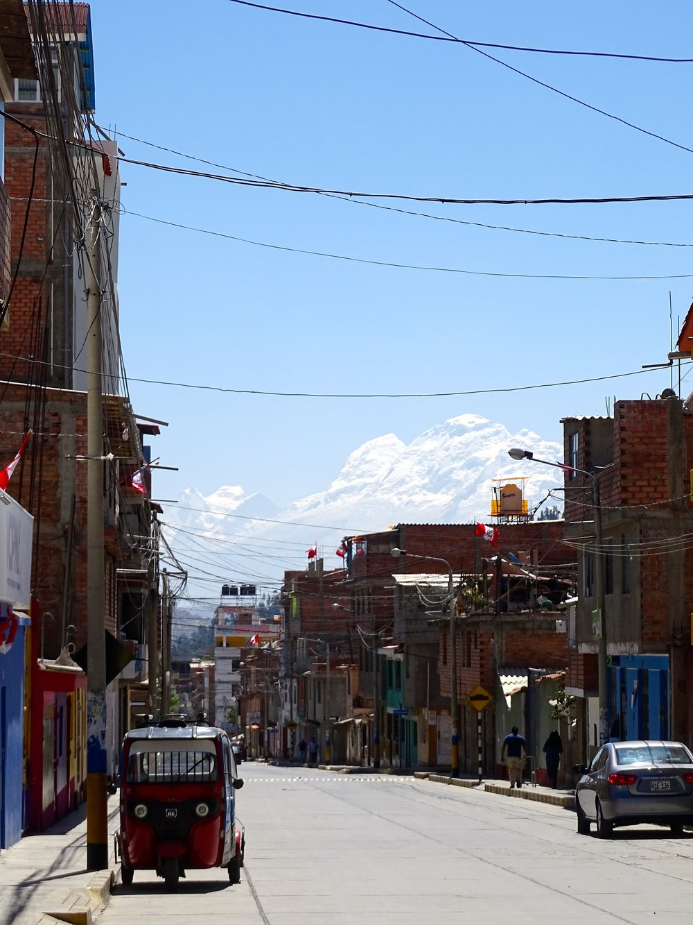 The backdrop of the Cordillera Blanca down many streets was stunning.