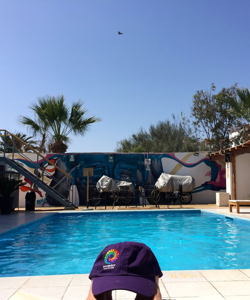 Poolside parking at Kokapeli Hostel.