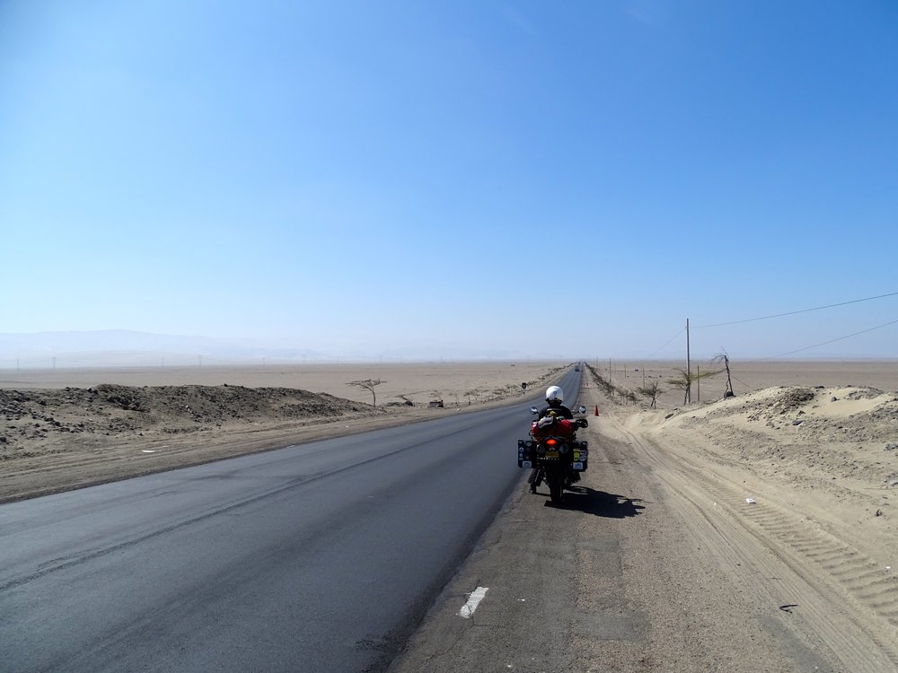 Rolling down onto the Nazca plains.