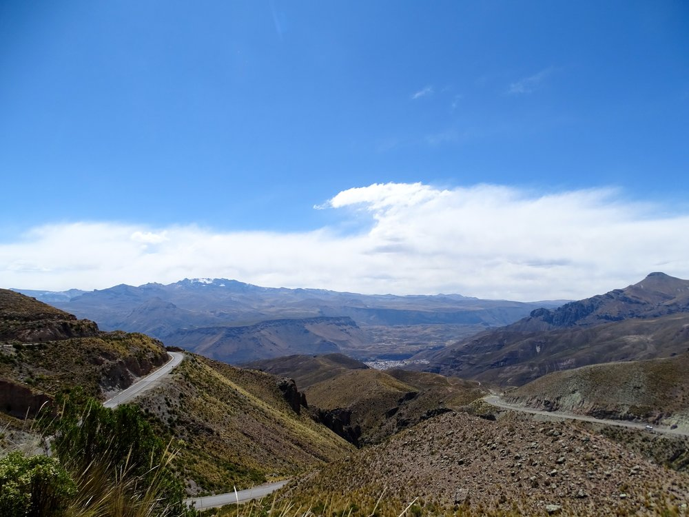 The road dropping down, down, down into Chivay at the head of Cañon del Colca.