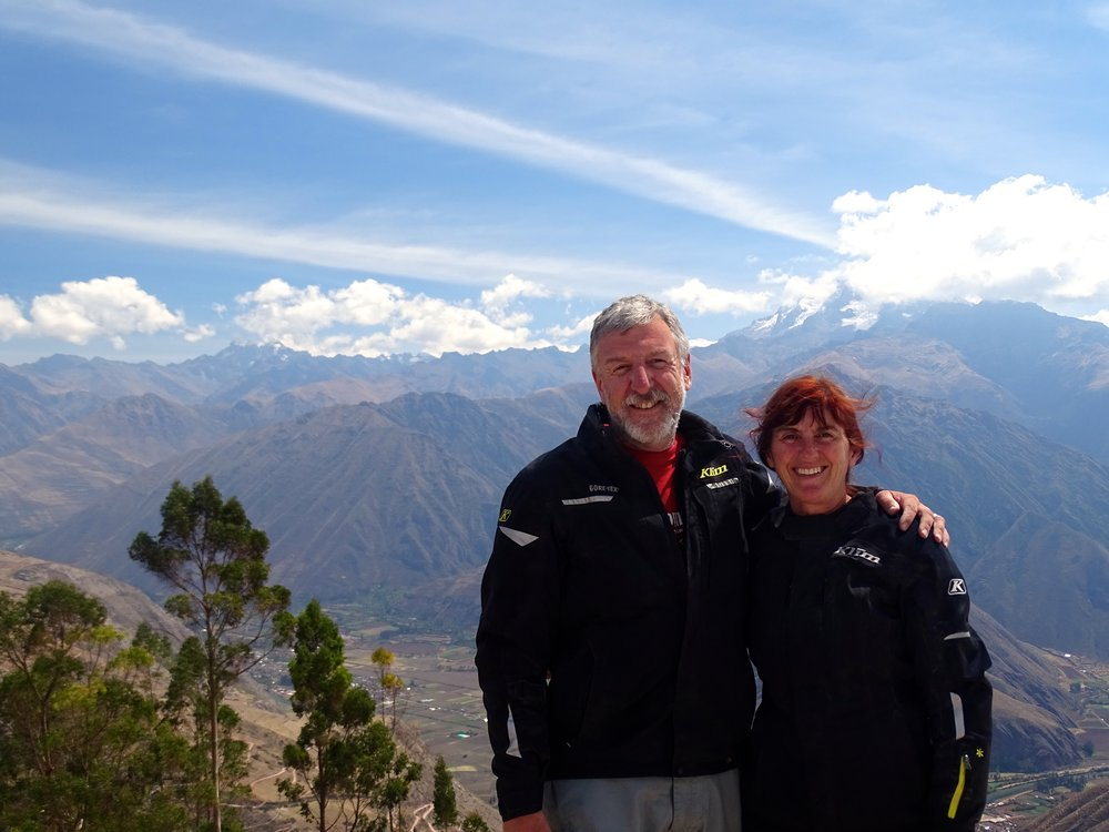 Here we are looking like we've stepped out of a Klim ad.  This is at the top of the road over to Cusco.