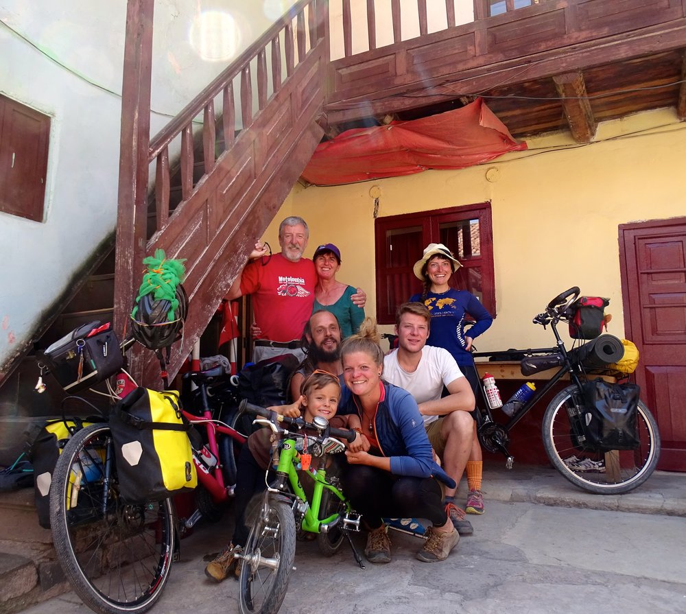 Some of our Cusco hostel friends.  These folks were all on bicycles, some with little kids who could peddle along (or hitch a ride when tired).