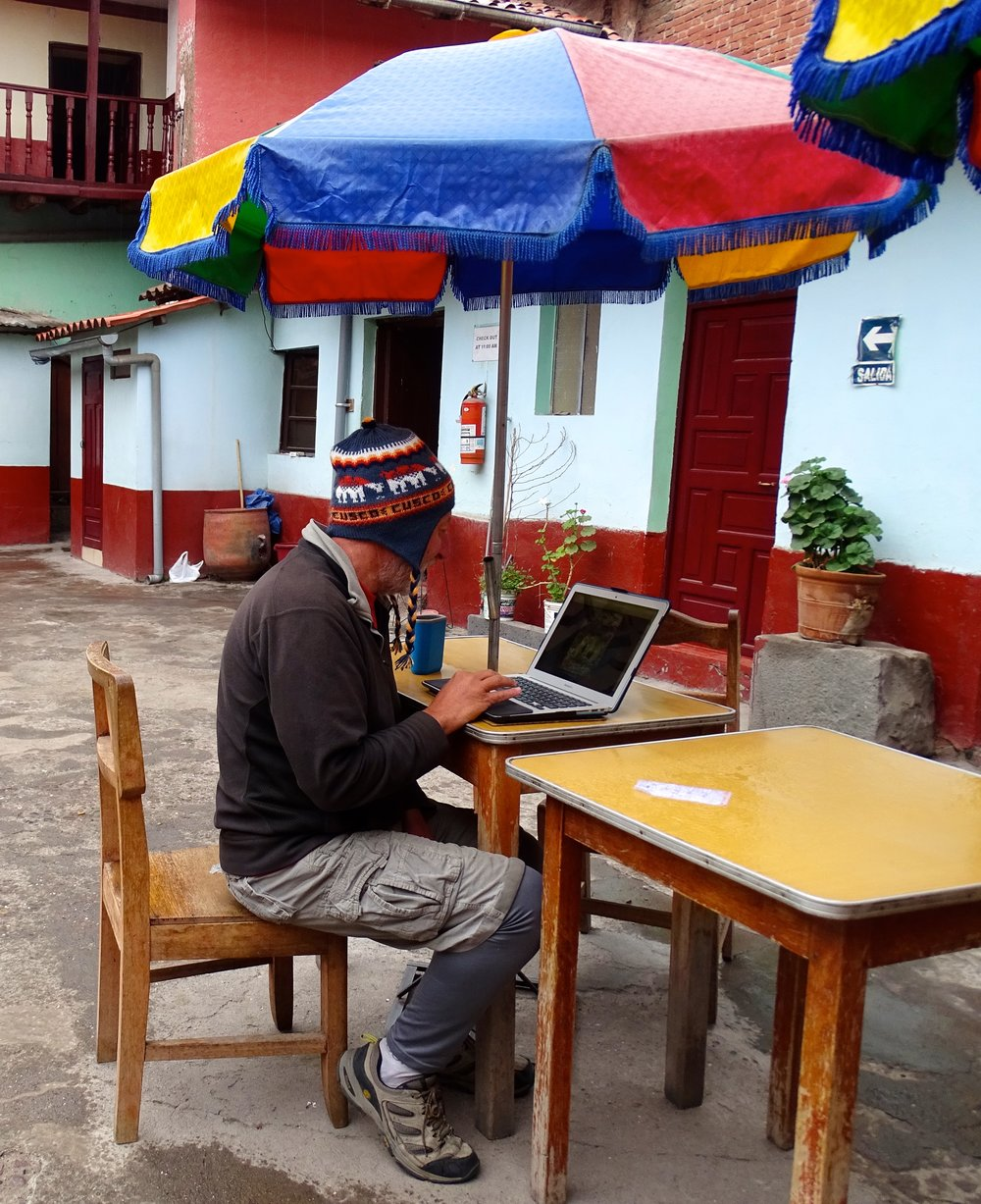 Cusco could be cold in the mornings.  Still, I love to write outdoors, what with the laptop.