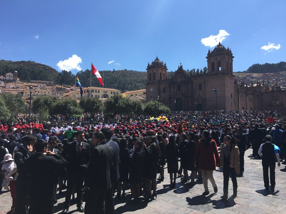 The Plaza de Armas in Cusco is a huge open area, with multiple churches and many shops around a central park area.  Really lovely place to hang out.