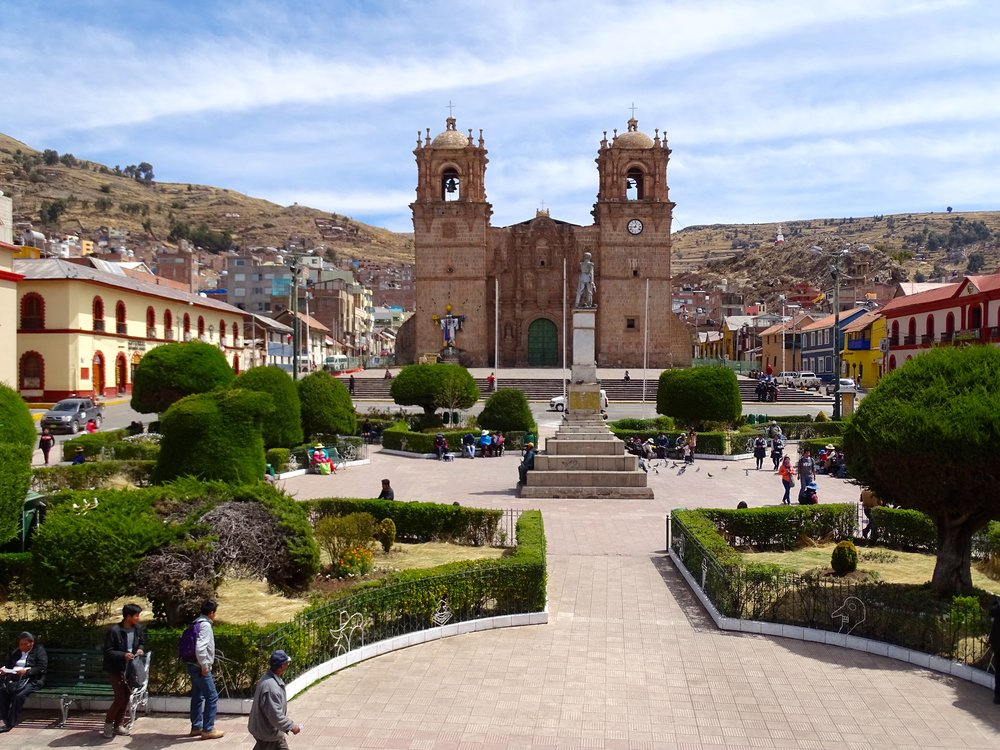 The Plaza de Armas of Puno, which, like most, was a great place to meet up, or to begin explorations of the old town area.  Ice cream was usually the first goal.