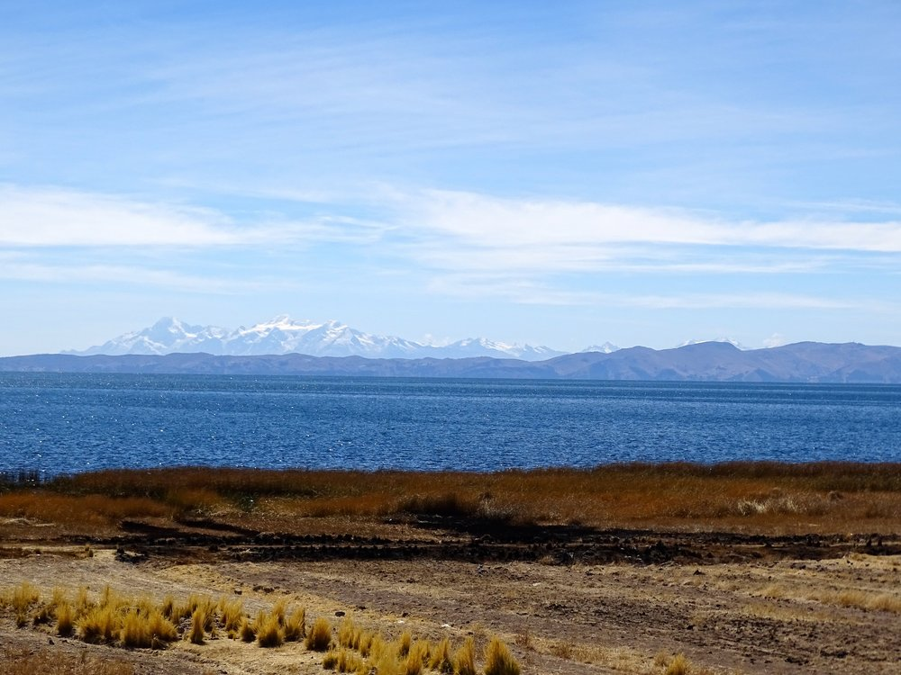 Along the shore of Lago Titicaca at 3,880 meters altitude.