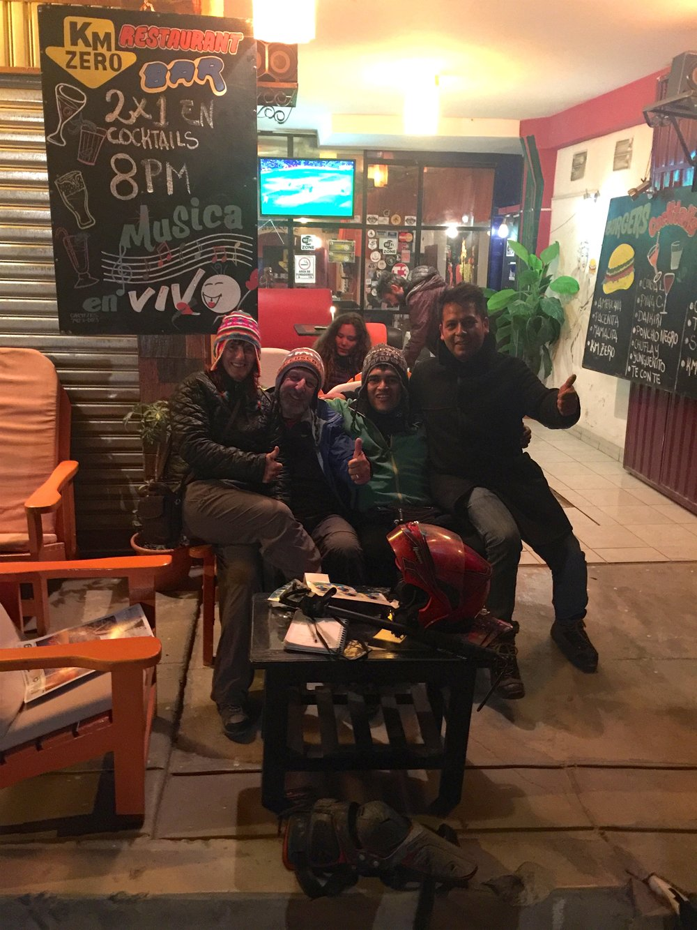 Hangin' with the gang at the local bar - Kilometer Zero is the place to go if you are a motoviajero passing through.