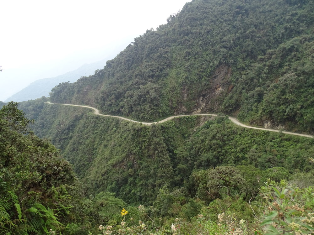 A section of the Death Road from across the valley.