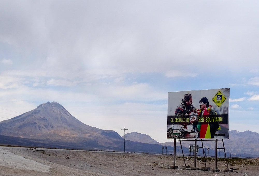 Roadside billboards gave a plug to the Dakar Rally.