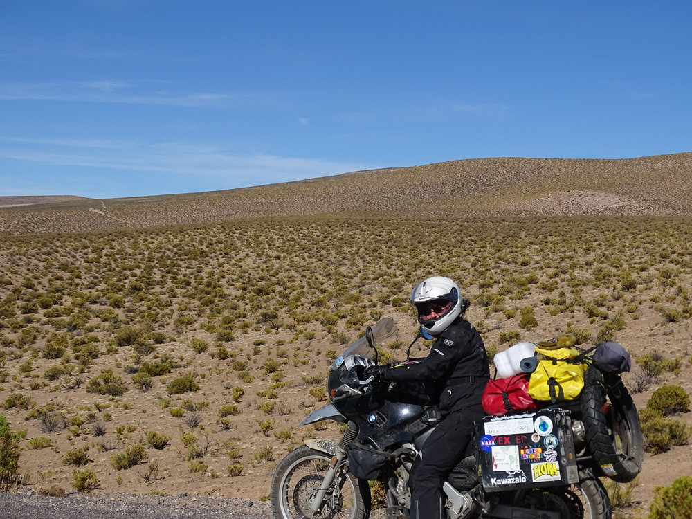 Coming out of Bolivia, we had more stuff, but at least it was light.  The fuel jug weighed nothing, and the tire was mounted not many days later.