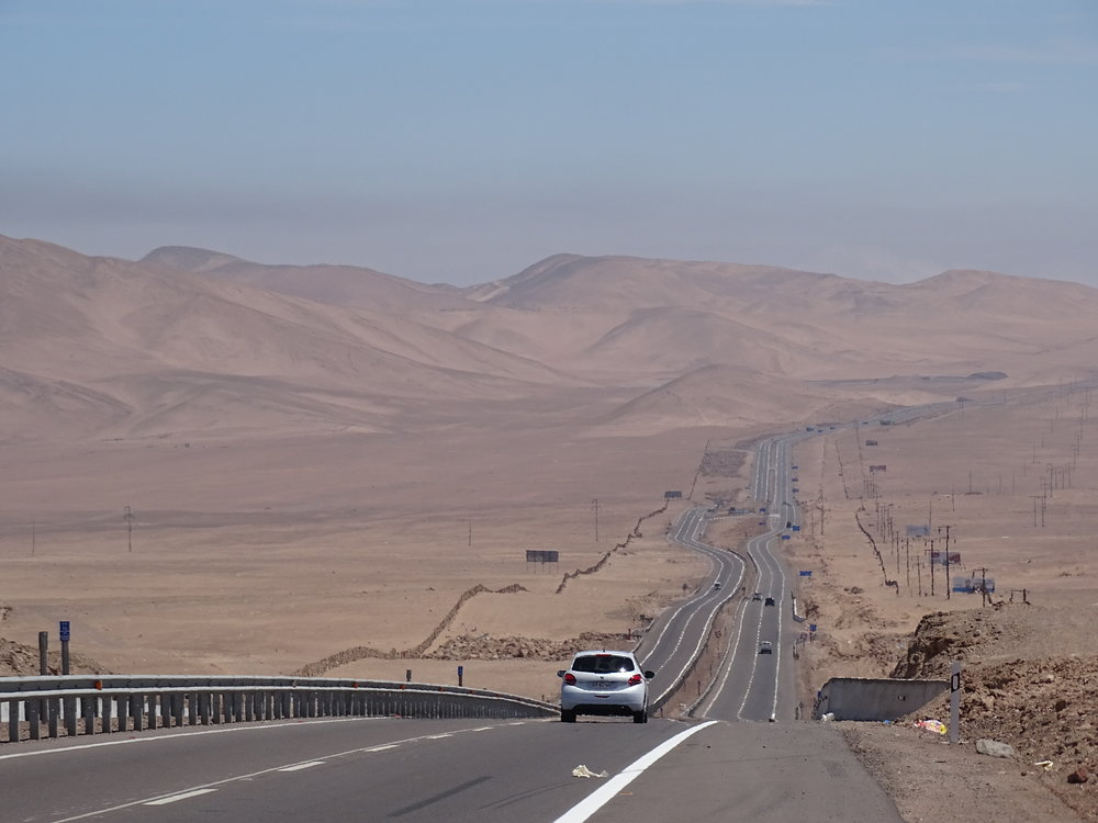 Once we were down onto the valley floor, between the Andes and the Chilean Coast Range, the dryness was made clear to us.  This desert has places where it has not rained since records began in 1570.