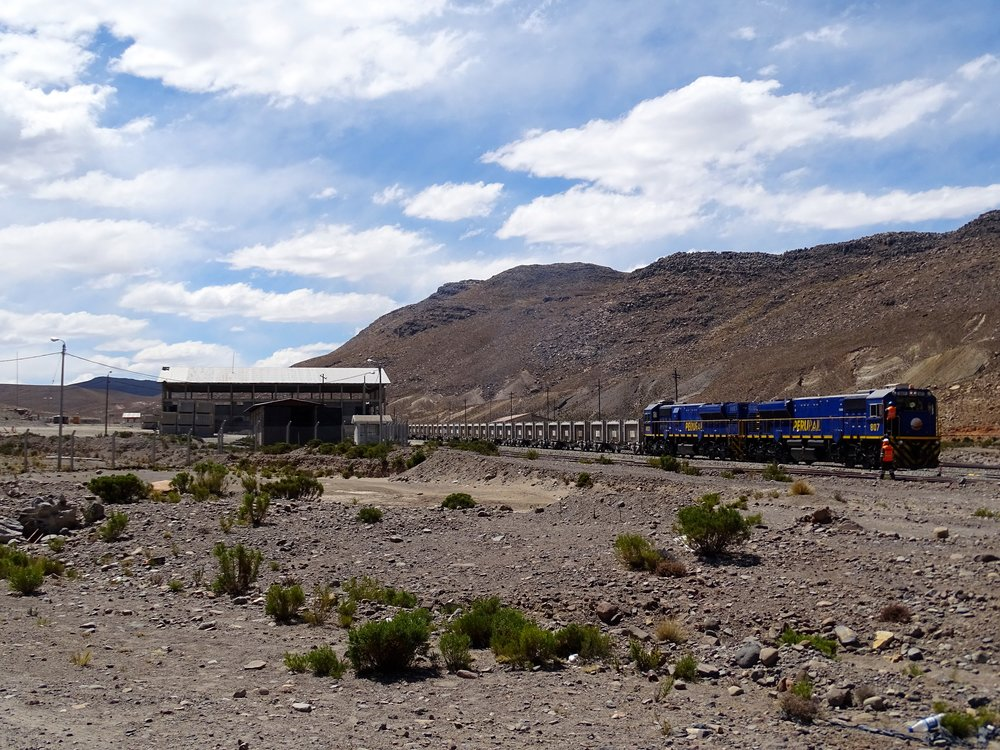 Peruvian railroad at 4,100 meters hauling out ore from the mines.