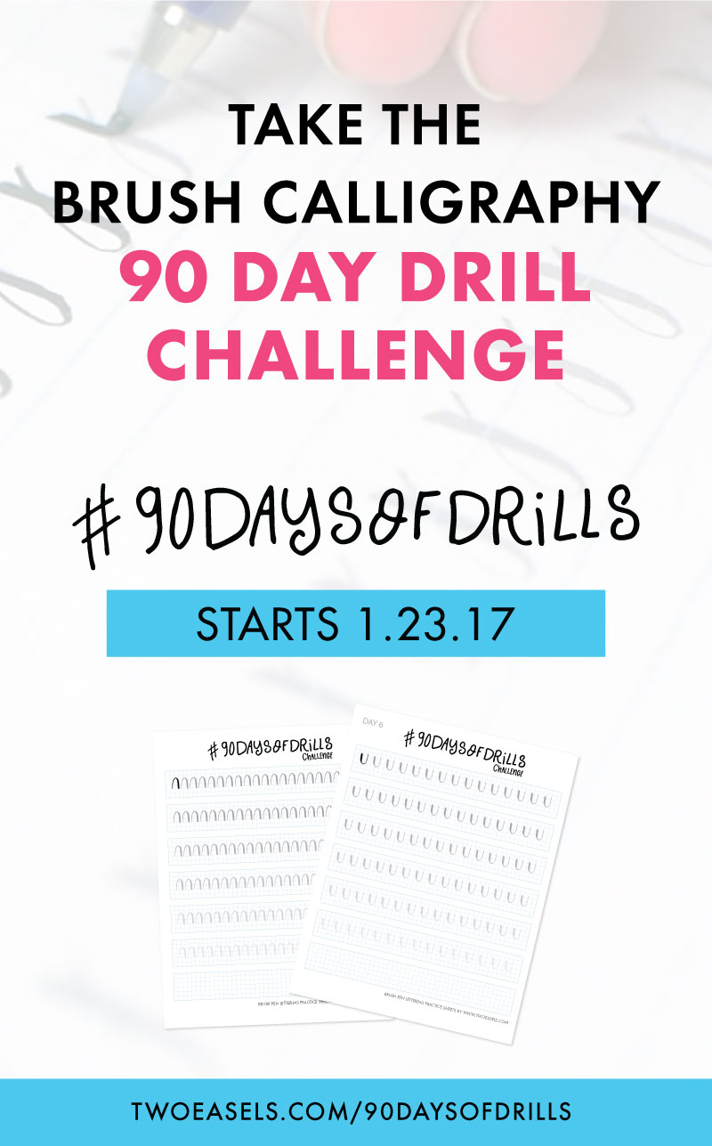Join the #90daysofdrills challenge and kiss your bad calligraphy goodbye @twoeasels #lettering