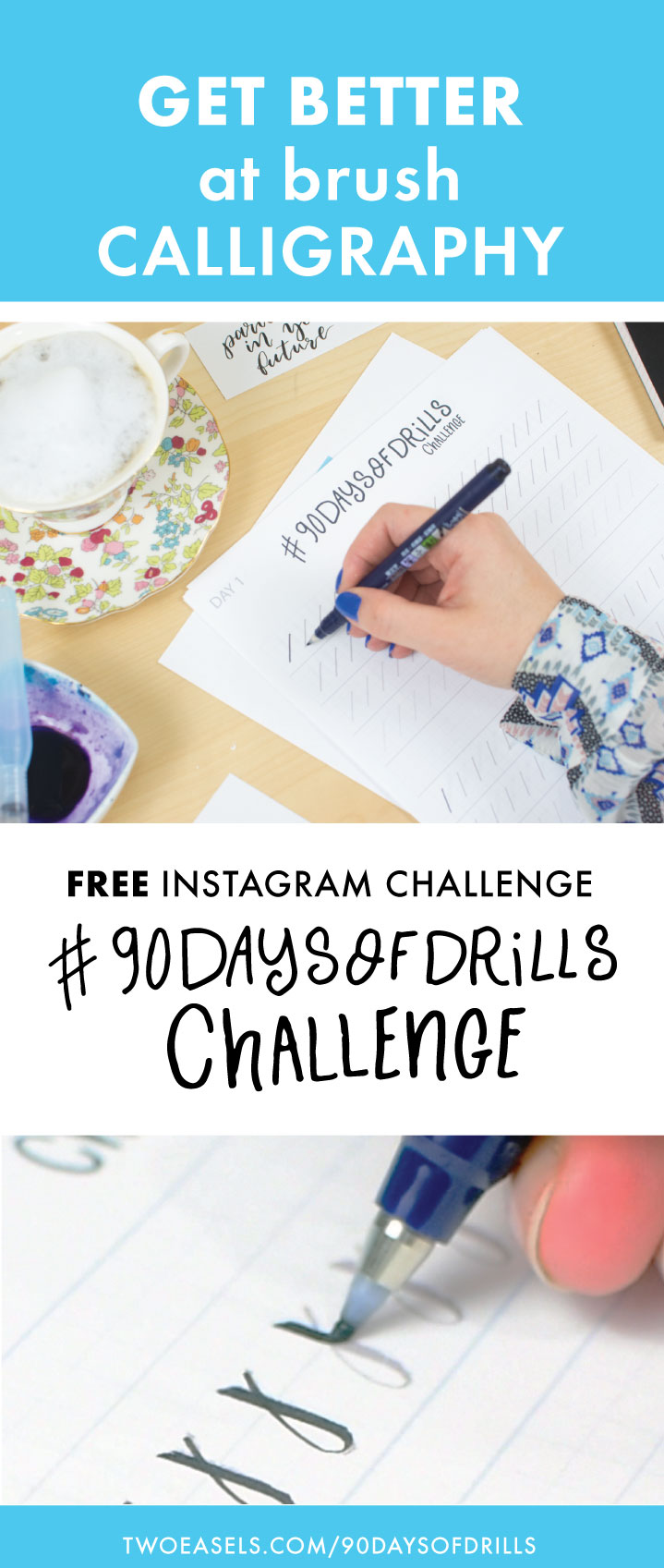 Get better at brush calligraphy. Join this 90 Day challenge