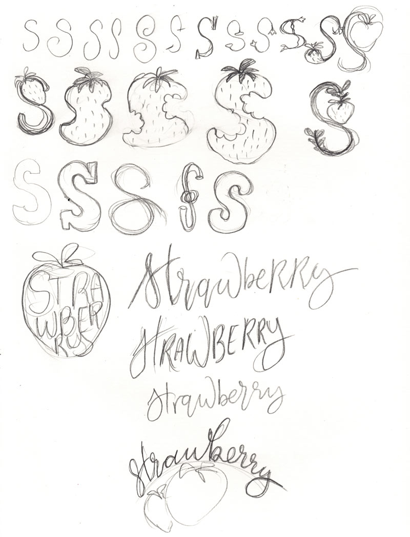 sketching strawberry lettering