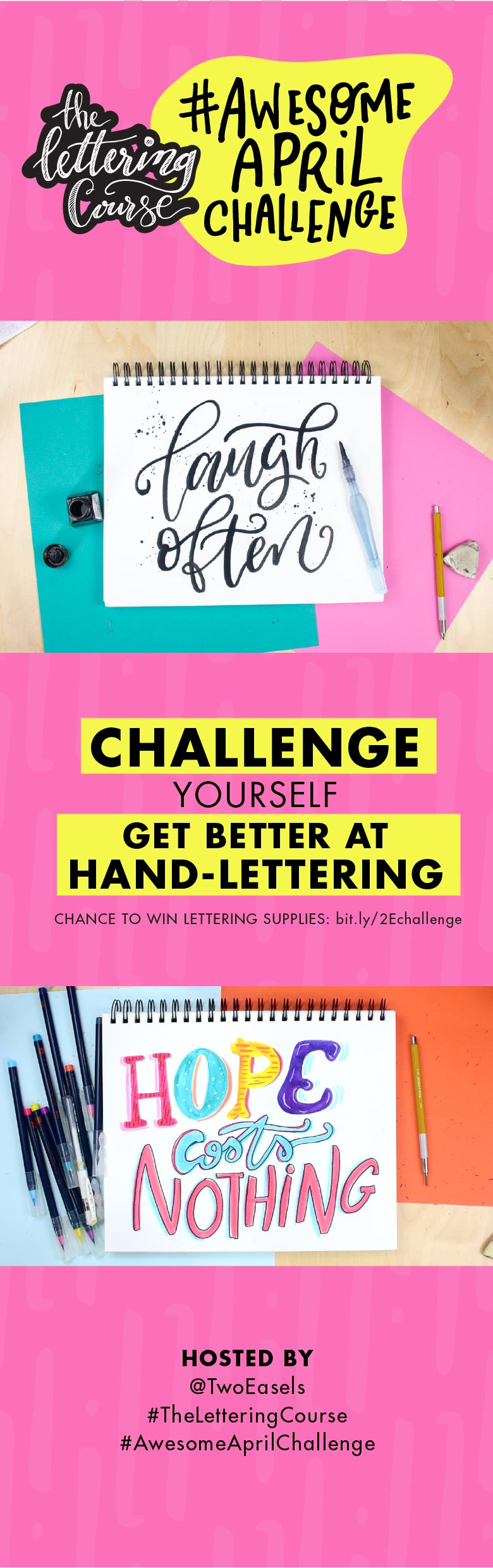 Want to get better at hand lettering? Participate in this monthly Instagram challenge and get to practicing every day! Join the fun on Instagram in this monthly challenge, this month it's #AwesomeAprilChallenge is about YOU being AWESOME!