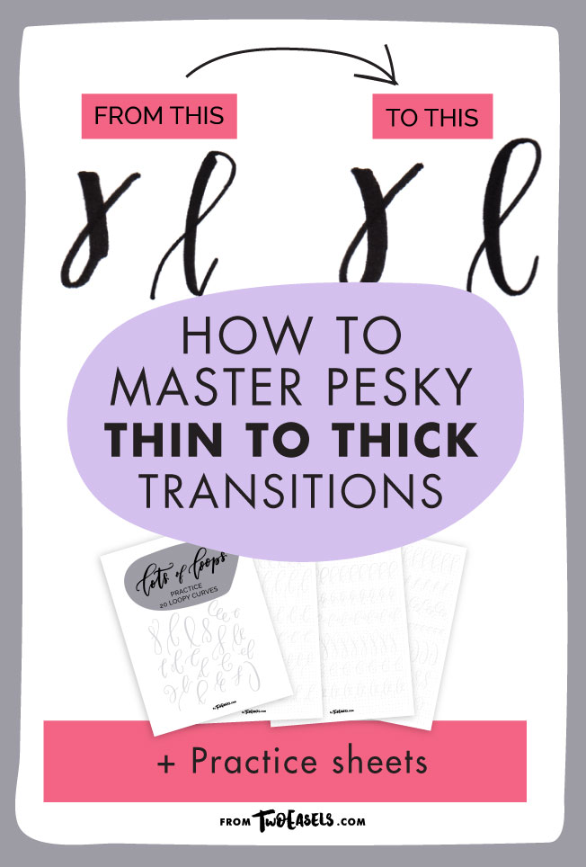 how to master thick to thin transitions blog post. And lettering practice sheets