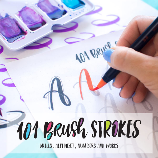 101 brush strokes, worksheets to practice your brush lettering and calligraphy.
