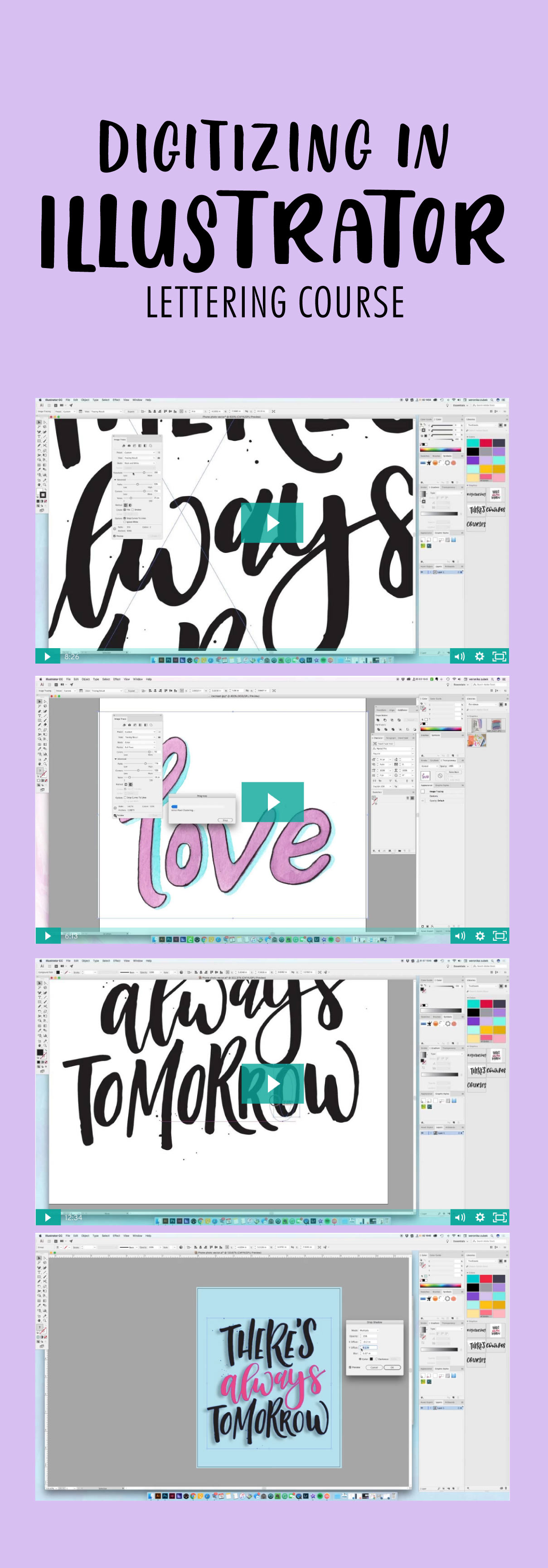 Learn how to digitize your lettering using Illustrator. Necessary Illustrator tools and shortcuts to edit your design How to vectorize your lettering using two techniques, vectorize watercolored lettering, vectorize black and white inked lettering, recolor your artwork. Learn lettering. How to prepare your files for web and print, and create your very own greeting card from scratch to printed piece.